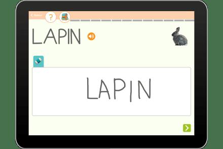 Exercice sur tablette pour écrire le mot lapin