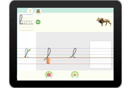 Exercice sur tablette pour écrire le mot Lion